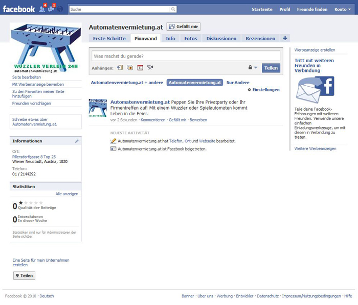 Facebook Automatenverleih