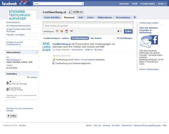 Facebook Textilwerbung