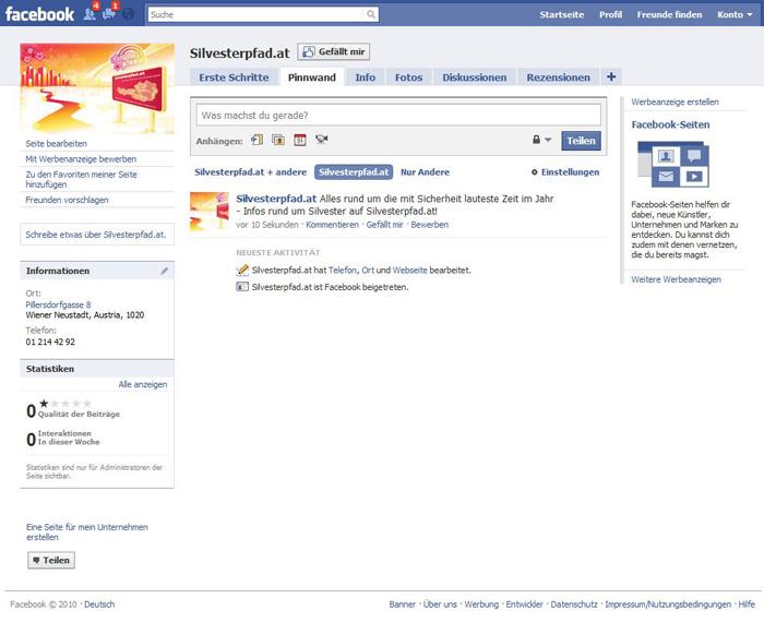Facebook Seite Silvesterpfad