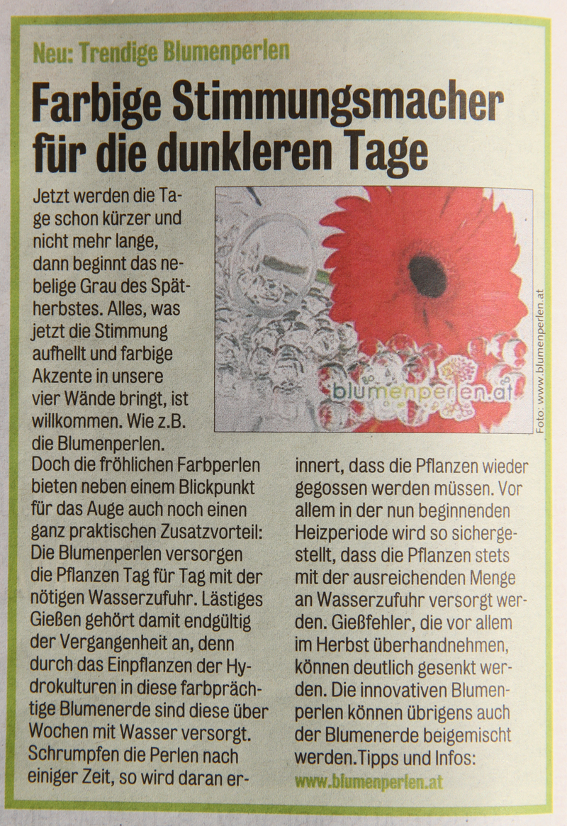 Kronen Zeitung Artikel Blumenperlen September 2010