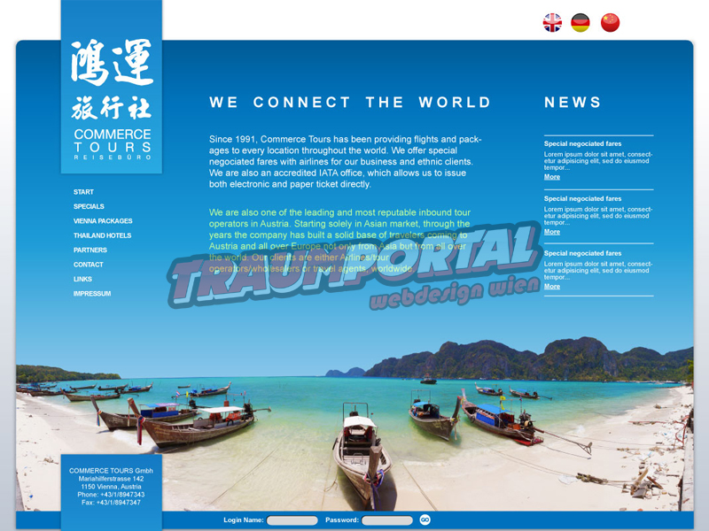 Urlaub Webseite Toursimus