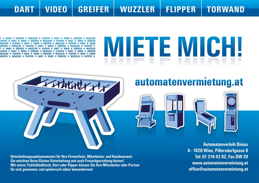 Automatenvermietung Tischfussball Dart Flipper Greifer mieten